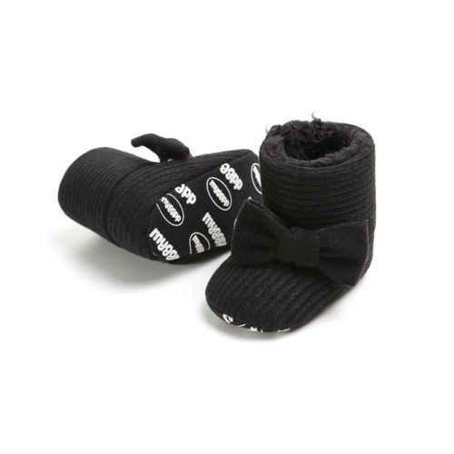 חמוד תינוקת בני חורף סרוג חם שלג מגפיים לפעוטות ילדים בנות Bowknot Solf בלעדי נעלי נעלי כותנה נעליים חמות נעליים