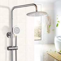 8'' Rainfall Shower Head Faucet Set Chrome Brass Polished Shower Tub Mixer Tap Wall Mounted Saving Nozzle Aerator High Pressure