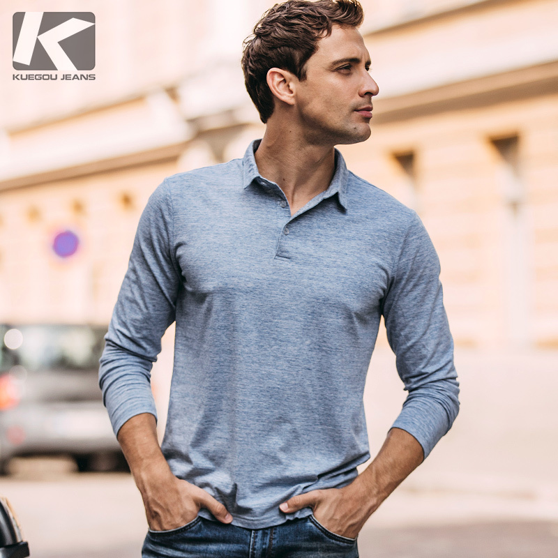 Autumn Men   Polo   Shirt Cotton Solid Blue Color For Man Casual Long Sleeve Slim Fit Clothing 2018 New Male Wear Tops Clothes 227