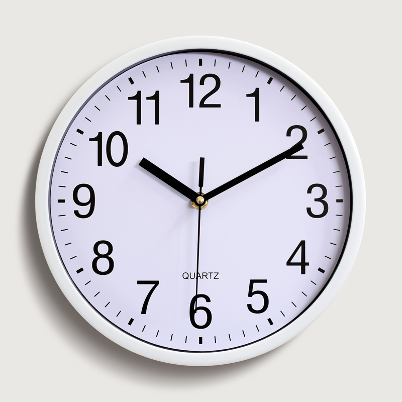 Simple Modern Design Sweep Round Wall Mountable Quartz Clock Black Kitchen Home