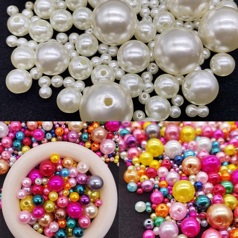 3~25mm Imitation ABS Pearls Beads White/Ivory/Mixed Color Round Loose Beads for DIY Handmade Bracelet Jewelry Making Accessories