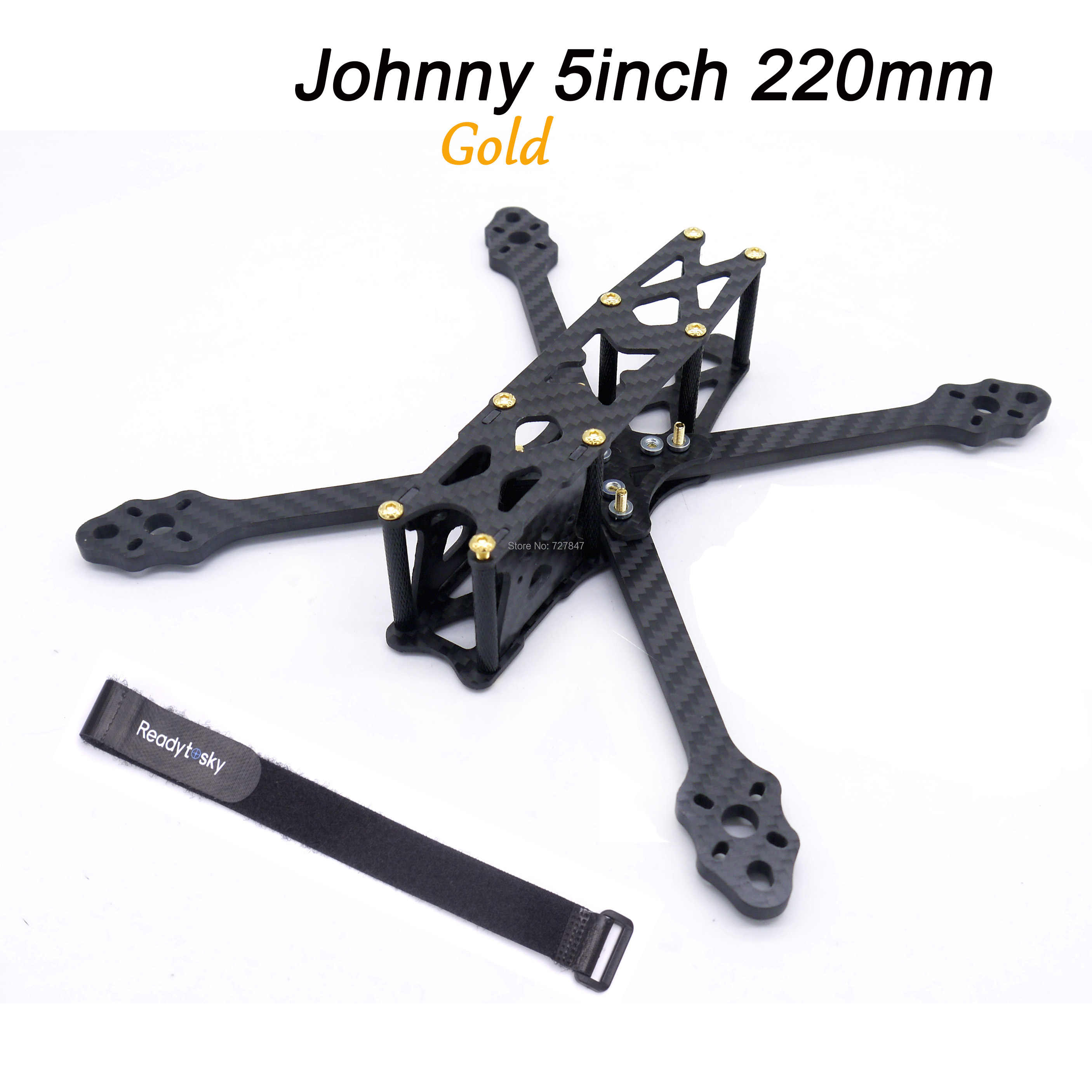 Brazos Johnny 5 pulgadas 220mm 5mm con tornillos de aluminio dorado verdadero kit de Marco X para Dron cuadricóptero FPV