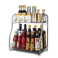 2 Tier Kitchen Spice Rack 201 Stainless Steel Kitchen Countertop Storage Rack Bottle Racks Household Kitchen Storage Holder