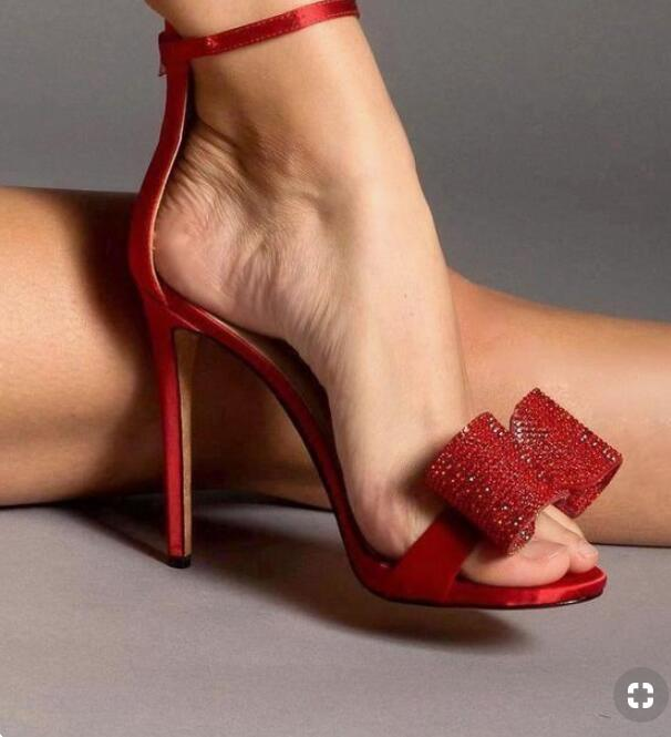 Crystal Bow Open Toe Sandal 10cm Heel Thin Ankle Strap Red Sandals Classic Women Dress Shoes