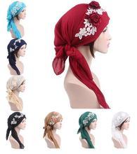 แฟชั่นผู้หญิงมุสลิมหมวกหมวกอิสลาม Headscarf Wrap Chemo มะเร็งหมวกผ้าพันคอดอกไม้ Bonnet อาหรับผม Ramadan ใหม่