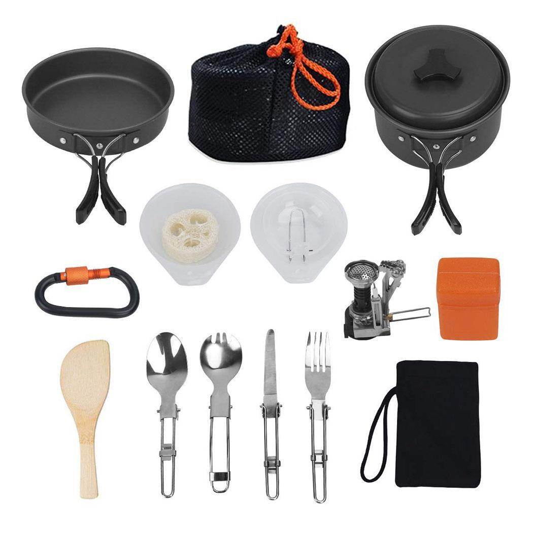 15Pcs/Set Outdoor Camping Cookware Set Portable Tableware Cooking Travel Cutlery Utensils Hiking Picnic Tools Black Handle15Pcs/Set Outdoor Camping Cookware Set Portable Tableware Cooking Travel Cutlery Utensils Hiking Picnic Tools Black Handle