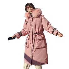 Pink Hooded Large Fur Collar Plus Size Down Parka Winter Jacket Coat Women Loose  Warm Padded Overcoat Manteau Femme Hiver Ls118 цены