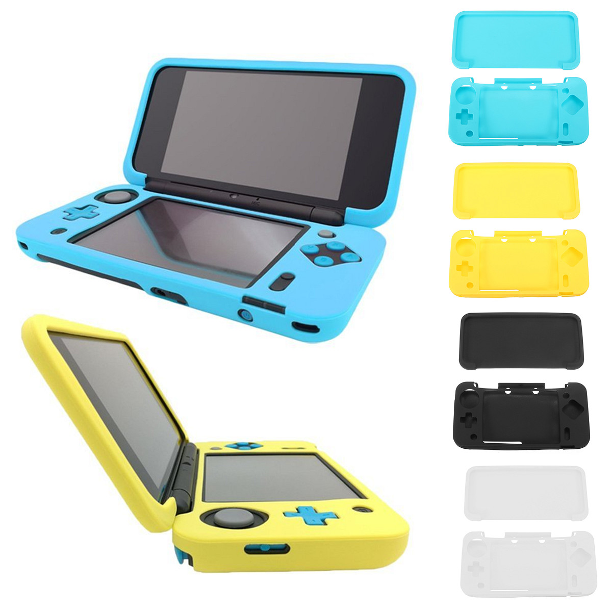Silicone Full Protective Cover Skin Game Machine Protectors Set For NEW 2DS LL Console Soft Full Cover Protect Case Game Accesso