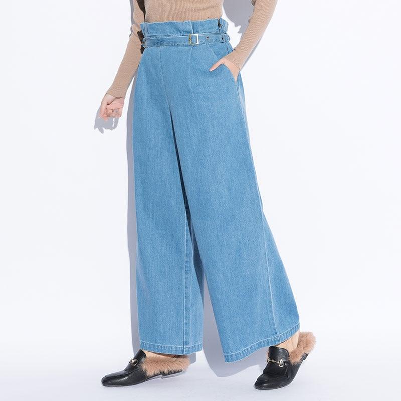 Nueva Para Ajustable Pierna Jeans Casuales Cintura De Denim Blue Alta  Sueltos La Ropa 2019 Oversize Mujeres Ancho Pantalones ... 21684caf070d