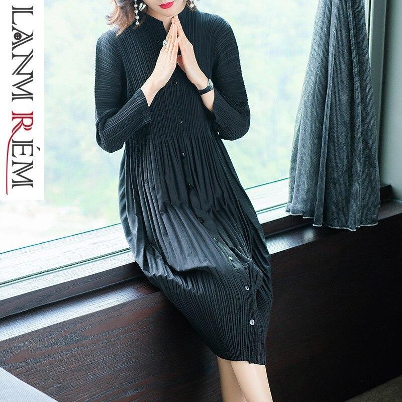 LANMREM 2019 haute qualité nouveau plissé vêtements pour femmes à manches longues col montant double poches lâche robe Vestido YF576