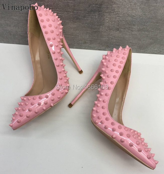 Sexy Rivets Pointed Toe High Heel Pumps Pink Patent Leather Party Shoes Fashion Stiletto Heels Shallow Women Shoes Wedding Shoes