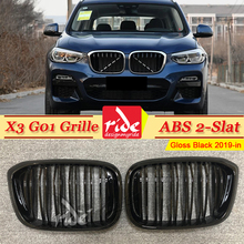 X3 G01 Front Grille ABS Gloss Black For X3-Series Double Slats Mesh M-style Bumper Kidney 2019-in
