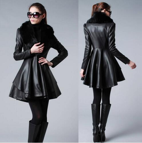 S-6XL Autumn Winter New Women Medium-Long PU Clothing Scrub Water Washed   Leather   Coat Large Fur Collar Slim   Leather   Outerwear