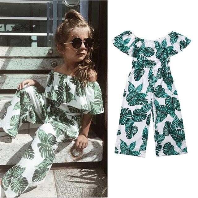 Детская одежда для маленьких девочек, Модный комбинезон принцессы с принтом зеленых листьев, летние цельные наряды, детская одежда, roupas menina