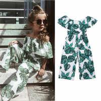 2019 da criança da menina do bebê princesa moda folha verde impressão roupas de verão crianças roupas conjunto roupas menina