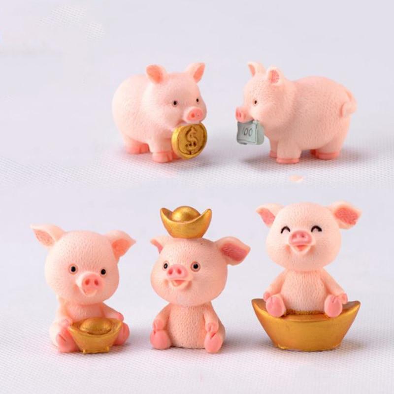1 Pc Kawaii Money Pig Resin Craft Ornament Cartoon Animal Gold Ingot Pig Diy Mini Small Car Decoration Model Figure Toy