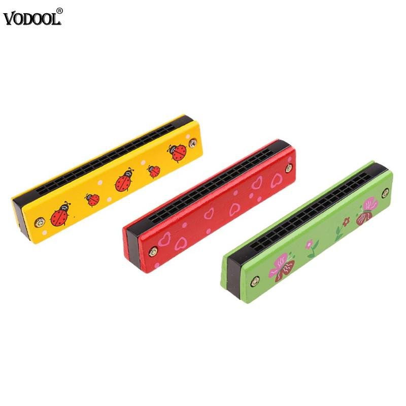 Funny Wooden Harmonica Kids Music Instrument Educational Child Attractive Toy Baby Educational Toys Color Randomly