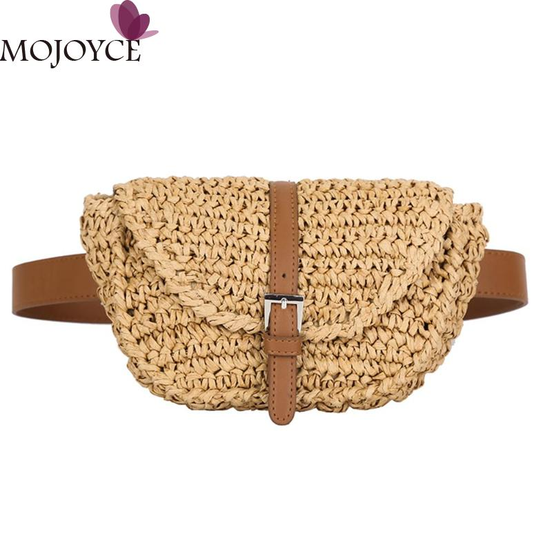 Women Semicircle Straw Bags Fanny Girls Small Female Casual Solid Color Summer Beach Chest Bag Lady Waist Pack