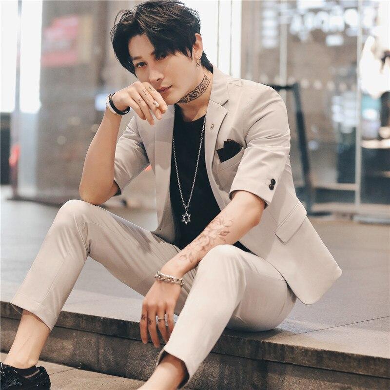 2019 Suit Men Wedding Suits For Men Short Sleeve 2 Pcs Set Summer Korea Slim Fit Dress Tuxedo Black Suit Costume Homme Terno