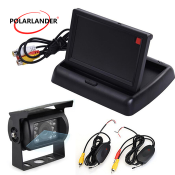 V1/V2 auto switching 24V truck bus 4.3 inch Foldable  TFT LCD Car Reverse Rear View Monitor add CCD reversing camera