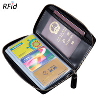 Travel Passport Holder Wallet Credit Business Plastic Card Case for Men Male Genuine Real Leather Zipper Around RFID Block Pouch