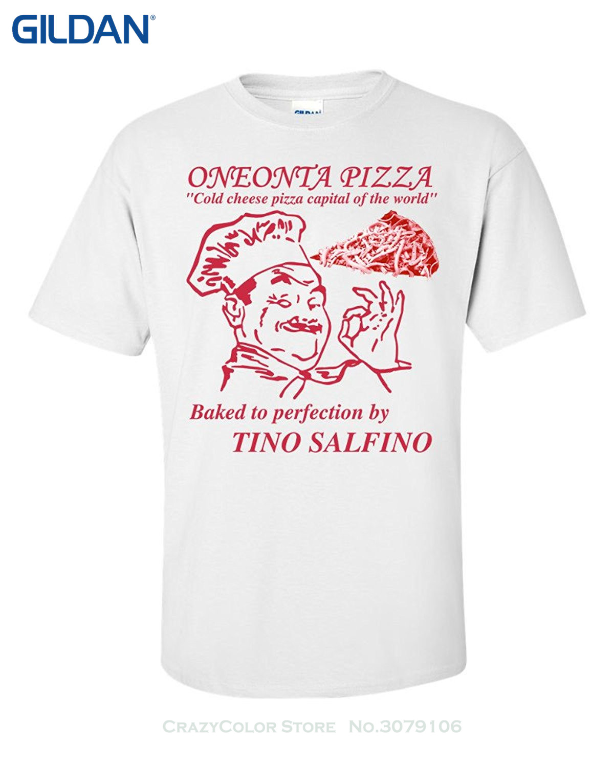 Gray Style Oneonta Cold Cheese Pizza Men's T-shirt - Tino Salfino's - Cold Cheese Pizza Capital Of The World image