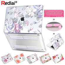 Redlai Floral Print Hard Case A1466 Cover Keyboard For Apple 2018 MacBook Air 13 inch A1932 with Retina Display & Touch ID