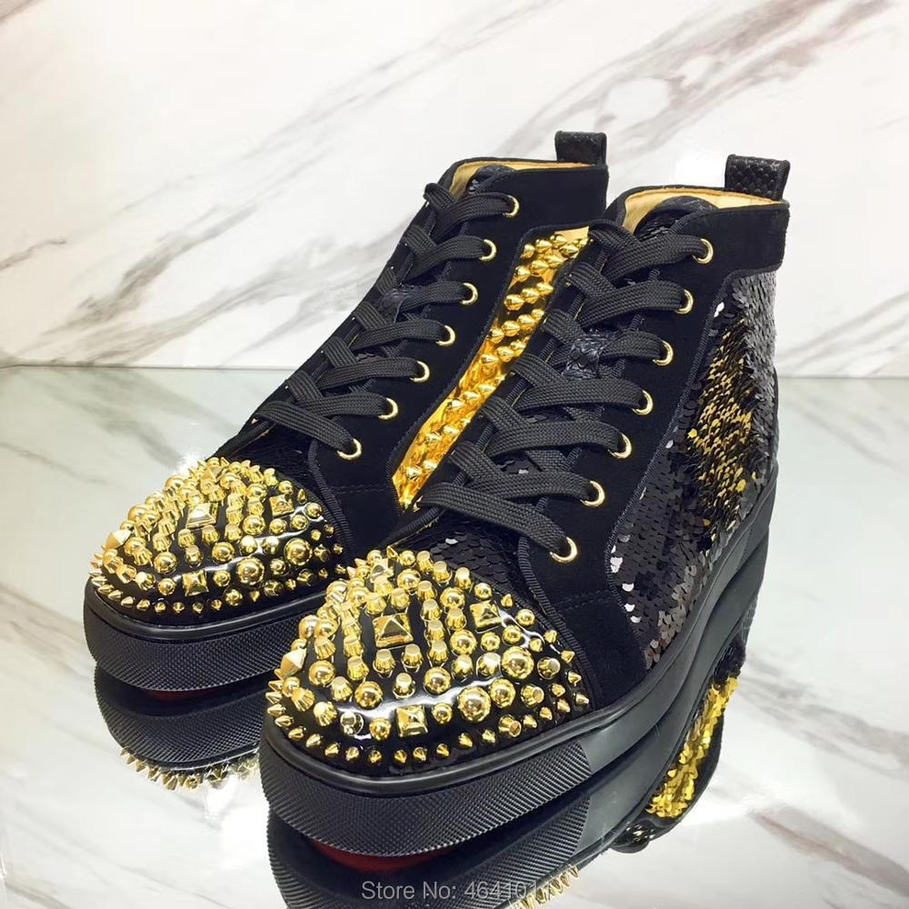 High Top Leisure shoes cl andgz Lace up Black Scale glitter leather Shaped Rivet Red bottom