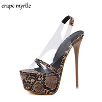 strappy sandals pvc shoes women bohemian sandals Party shoes fetish high heels snakeskin leopard shoes women Sandals YMA701