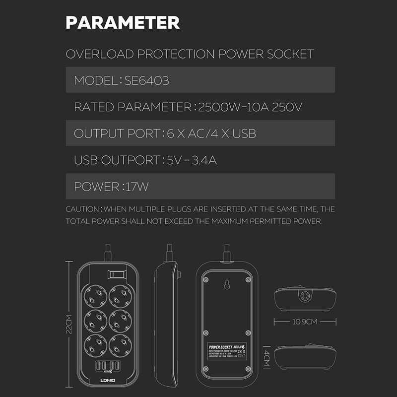 전원 스트립 eu 플러그 2500 w 250 v, 2m 케이블, 벽 다중 소켓 휴대용 6 콘센트 4 usb 포트 휴대 전화 스마트 폰 태블릿