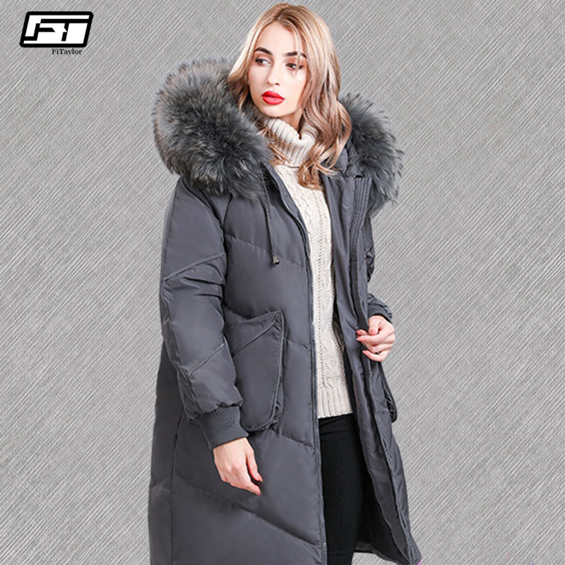 Fitaylor Real Raccoon Fur 2019 Winter Women 90% Duck Down Long Parkas Female Slim Hooded Big Pockets Thick Warm Down Coat