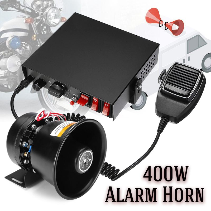 12V 400W 150dB 9 tones Alarm Horn Loud Car Polices Siren + Mic PA Speaker Warning/Recording Electronic Bell Volume Adjustable