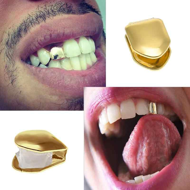 Black Men Hip Hop Gold Teeth Grillz Top   Bottom Grills Dental Mouth Punk  Teeth Caps 75f65bef1793