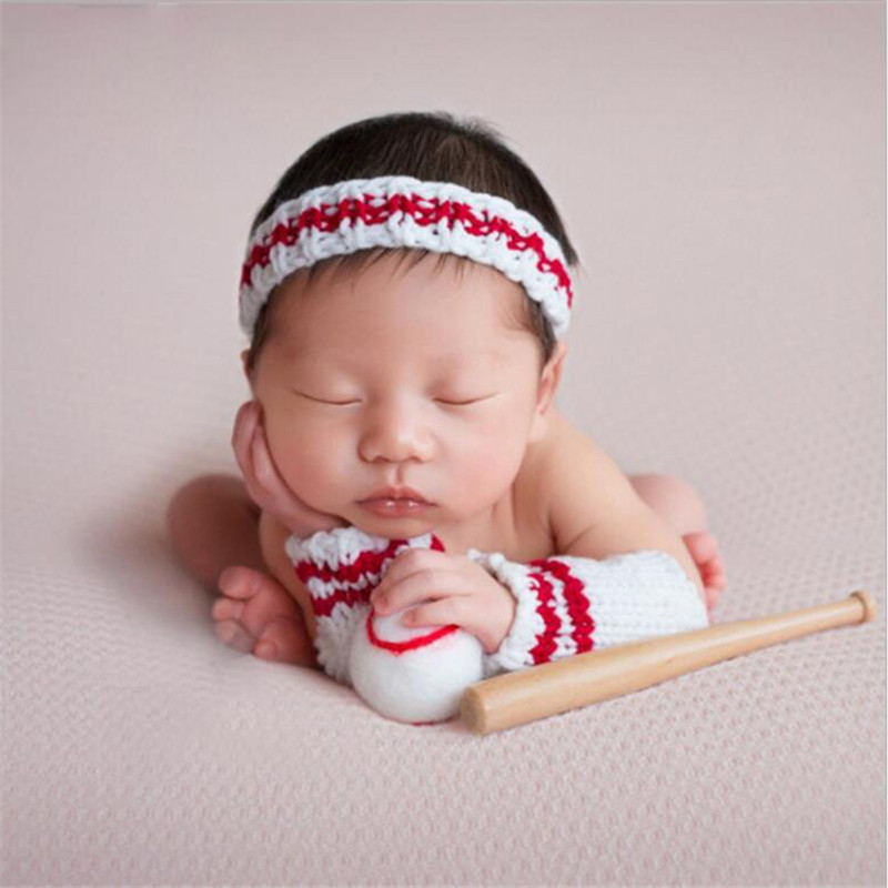 Baby Boy Photography Props Accessories Baby Headband+Baseball+Sleeves+Wood Stick Set Baby Shooting Baseball Photo Prop Accessory