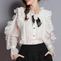 [MENKAY] Elegant Womens Shirts Blouse Flower Collar Flare Long Sleeve Patchwork Lace Ruffle Tops Female 2019 Spring Fashion
