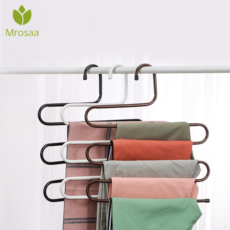 Stainless Steel Wardrobe Storage S Type Pants Trousers Hanger Multi Layers Clothing Towel Storage Rack Closet Space SaverStainless Steel Wardrobe Storage S Type Pants Trousers Hanger Multi Layers Clothing Towel Storage Rack Closet Space Saver