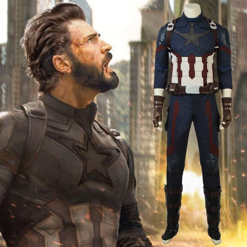 Captain America Steve Rogers Cosplay Costume Avengers Infinity War Superhero Suit Halloween Fancy Clothes Adult Men Custom Made