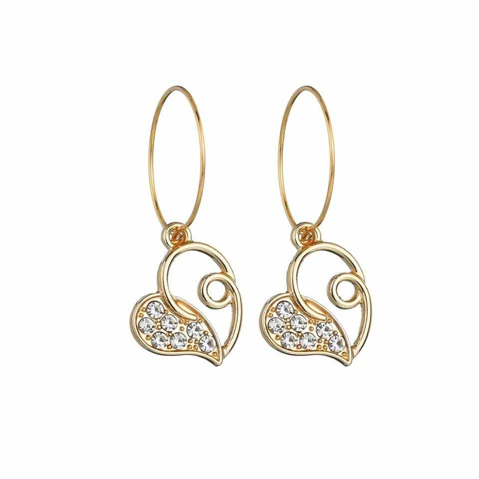 Золотые серьги-капли в форме сердца со стразами для женщин, модные ювелирные изделия, милые серьги, женские серьги ручной работы, свадебные украшения, подарки