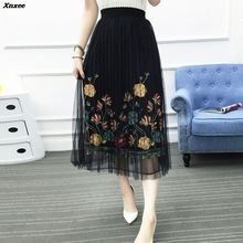 2018 New Women Mesh Tulle Long Skirt Fashion Vintage Pleated Floral Embroidery Elegant Female High Waist Tutu Skirts