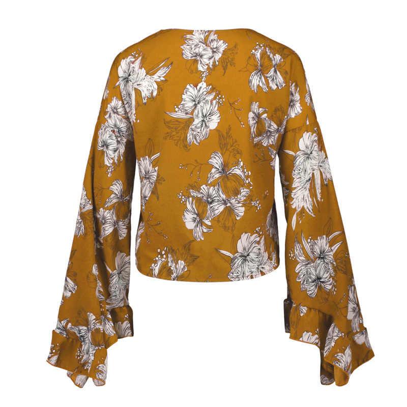 Jocoo Jolee נשים סקסי עמוק V צוואר לקשור קשת קדמי חולצה נשים חולצות בלתי חולצות 2019 קיץ Boho פרחוני הדפסת חולצה חולצות