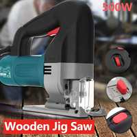 220V 500W Variable Speed Electric Handheld Jig Saw Woodworking Curve Shape Chainsaw Cut Tool Metal Ruler Laser Jig Saw