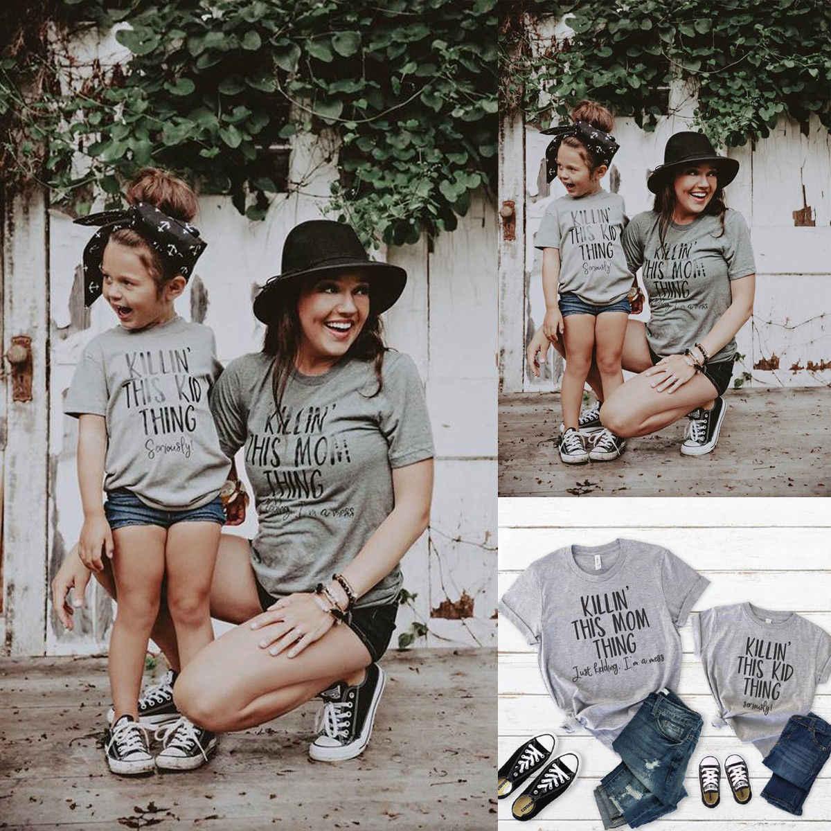 A mãe E As Crianças Tees Mulheres Bebê Crianças Família Roupas Combinando T-Shirt Tops Carta Imprimir Algodão de Manga Curta Cinza Encabeça Uma peça