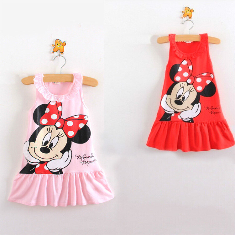 2018 New Summer Girls Cute Minnie Skirt Fashion Beach Holiday Cartoon Design Pure Cotton Dress Baby Dress.