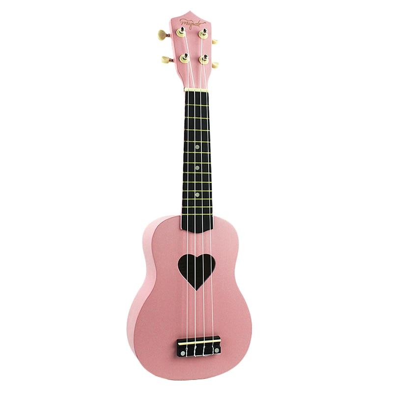 Ukulele Pink 21 Inch 4 Strings Ukelele Cheap Hawaii Mini Guitar Heart-Shaped Tone Hole Basswood Wood
