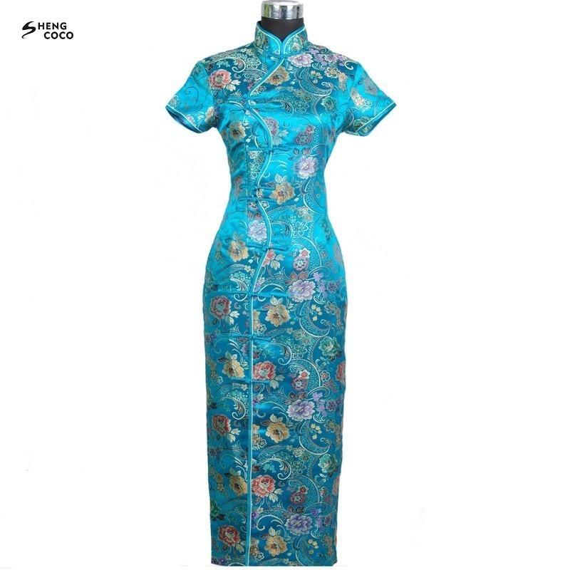 SHENG COCO Silk Satin Long Chinese Dress Cheongsam Dress Evening Tang Costume Green Robe Ten Buckle Oriental Style Qipao Female