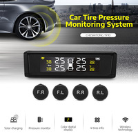 CHESHITONG TY10 Car Tire Pressure Monitoring Alarm System Solar Powered With LCD Color Realtime Display External Sensor Car TPM