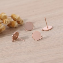 Badu Rose Gold Stud Earring DIY Stainless Steel Small Round Studs for Women Fashion Jewelry Gift Girls Wholesale