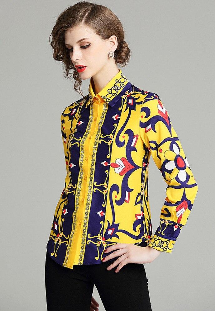 Brand Runway Blusas Mujer De Moda 2018 Camisa Feminina Women   Blouse     Shirt   Long Sleeve Joker Lapel Yellow Blue Print Flower Top