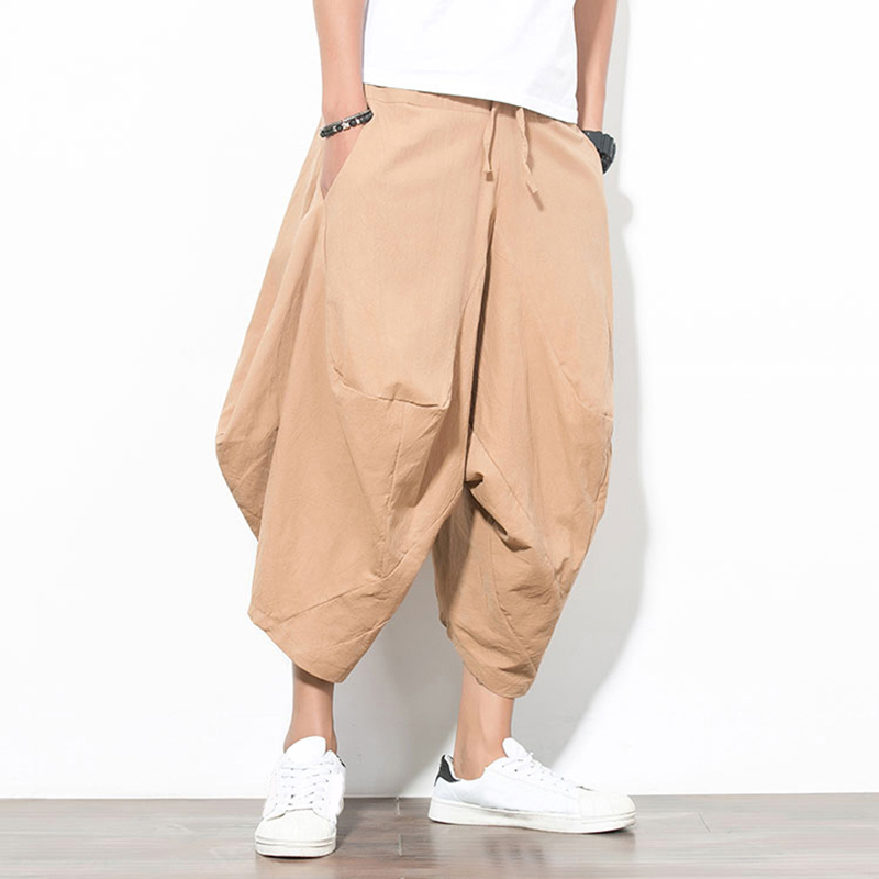 Men's Harem Pants Solid Casual Cotton Baggy Wide Leg Trousers Men Loose Drop Crotch Pockets Vintage Joggers Hip-hop Male Pants