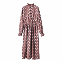 2019 New Spring Vintage Women dress Full Sleeve Polka Dot Even Buckle Corduroy Elastic Waist Dresses Pink 9026
